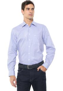Camisa Dudalina Reta Quadriculada Branca/Azul