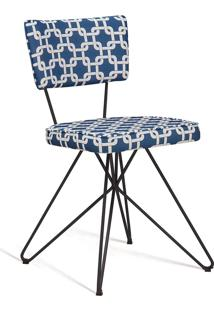 Cadeira Butterfly Retro Aço Daf Azul/Branco