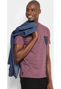 Camiseta Overcore Bolso Falso Tira Masculina - Masculino-Vinho