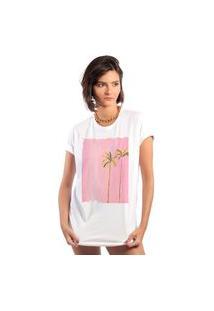 Camiseta Feminina Mirat Pink Summer Branca