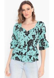 Blusa Floral Com Babados Operate Feminina - Feminino-Verde