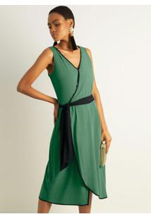 Vestido Em Tecido Com Decote V Verde