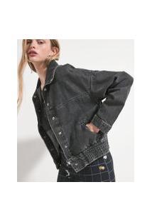 Jaqueta Jeans Marmorizada Com Elástico Na Barra | Blue Steel | Preto | Pp