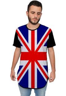 Camiseta Longline Ramavi England'S Flag Preta