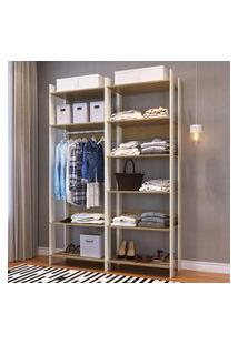 Closet Aberto Completa Móveis Cbcla01Owit Combo 001 Off White E Itapua