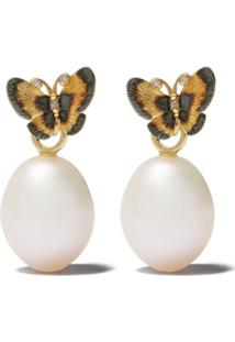 Annoushka Par De Brincos Butterfly Em Ouro 18K Com Diamante - 18Ct Yellow Gold