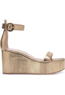 Gianvito Rossi Sandália Com Plataforma - Dourado