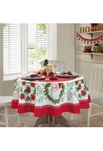 Toalha De Mesa Redonda Genebra Natal 1,60X1,60 - Papai Noel - Dã¶Hler - Branco/Vermelho - Dafiti