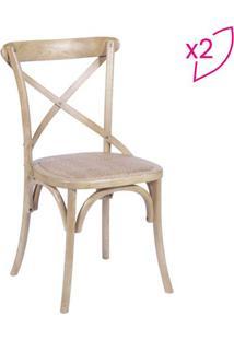 Jogo De Cadeiras Cross- Madeira & Bege Claro- 2Pçs