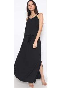 Vestido Longo Com Elástico & Amarração- Preto- Vittrvittri
