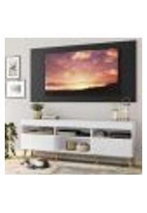 """Rack Com Painel Tv 65"""" Londres Multimóveis Pés Retrô E 2 Portas Branco/Preto/Natural"""