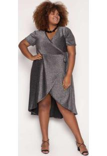 Vestido Almaria Plus Size Alt Wrap Glow Preto