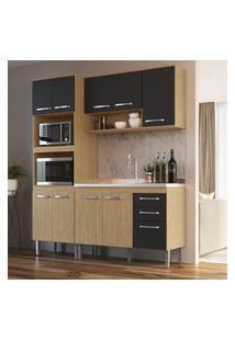 Cozinha Compacta 3 Peças Mel E Grafite Lilies Móveis