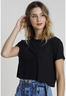 Blusa Feminina Básica Cropped Com Bolso Manga Curta Decote Redondo Preta