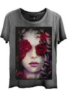 Camiseta Estonada Gola Canoa Corte A Fio Girl Roses