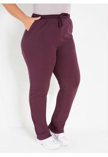Calça Vinho Comfort Plus Size Com Bolsos
