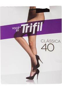 Meia Calça Arrastão Feminina Trifil Fio 40 Preto