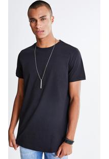 Camiseta Alongada Com Detalhe Em Suede