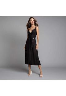 Vestido Mídi Com Cinto Preto Reativo - Lez A Lez