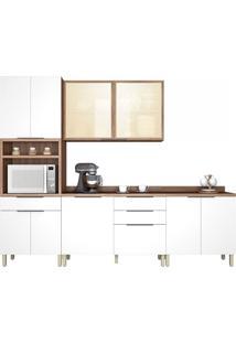 Cozinha Donna 4 Peças (Com Paneleiro) Nogal/Branco Nesher