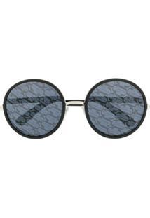 Jimmy Choo Óculos De Sol Redondo Com Lentes Monogramadas - Preto