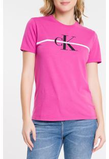 Blusa Mc Slim Logo Meia Reat Gc Faixa - Uva Claro - Pp