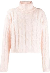 Twin-Set Cable Knit Polo Jumper - Rosa