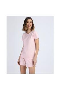 Pijama Feminino Em Moletom Manga Curta Rosa