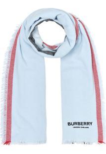 Burberry Cachecol Listrado Icon - Azul