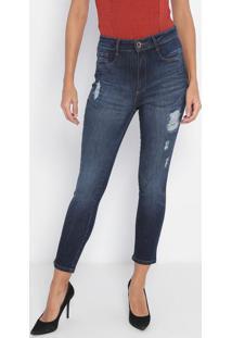 Jeans Super High Ankle Com Puídos- Azul- Lança Perfulança Perfume