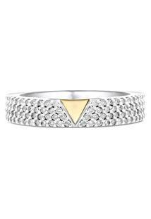 Anel Ouro Branco Ouro Amarelo E Diamantes
