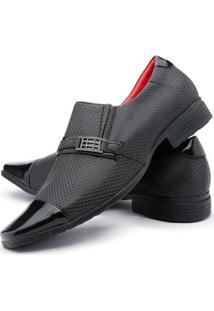 Sapato Social Couro Ecologico Ruggero Masculino - Masculino-Preto