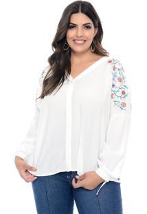 Camisa Marileti Plus Size Off White Bordada Biarritz Off White