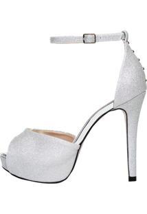 Sandália Meia Pata Week Shoes Glitter Prata