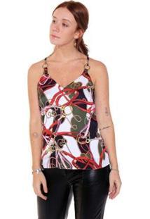 Regata Studio 21 Fashion Print Corrente - Feminino-Off White