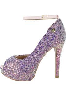 Peep Toe Week Shoes Meia-Pata Glitter Furta-Cor Lilas Com Corte Lateral