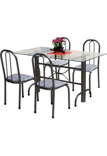 Jogo De Mesa Marcheli 4 Cadeiras Itália Floral Craqueado/Cinza