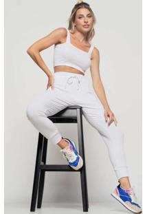 Calça Jogger Comfy Malha Canelada Branco