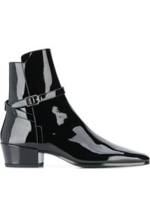 Saint Laurent Ankle Boot Com Fivela - Preto