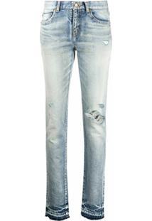 Saint Laurent Calça Jeans Slim Com Detalhe Destroyed - Azul
