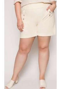 Shorts Almaria Plus Size Minha Linda Liso Off White Branco