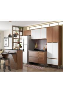 Cozinha Completa Com Bancada E Balcão Com Tampo 6 Peças 13 Portas Calábria Multimóveis Nogueira/Branco
