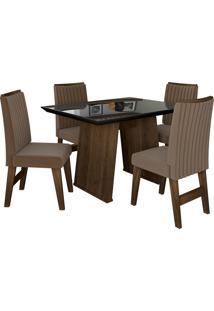 Conjunto De Mesa Para Sala De Jantar Com Tampo De Vidro E 4 Cadeiras Vigo -Dobuê Movelaria - Castanho / Preto / Castor Bord