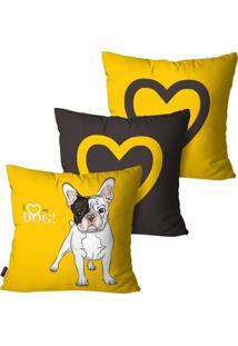 Kit Com 3 Capas Para Almofada Pump Ups Decorativas Amarelo Love Dog 60X60Cm - Amarelo - Dafiti