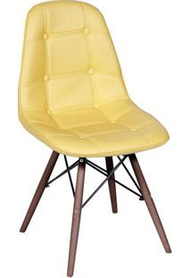 Cadeira Eames Botonãª- Amarela & Madeira Escura- 83X4Or Design