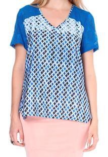Blusa Energia Fashion Com Recorte Devorê Azul