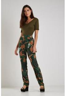 Calça Sacada Est Floral Camuflado Feminina - Feminino-Verde Militar+Bege