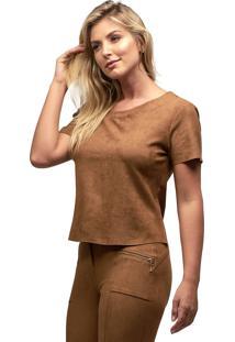 Blusa Suede Mx Fashion Saturno Caramelo