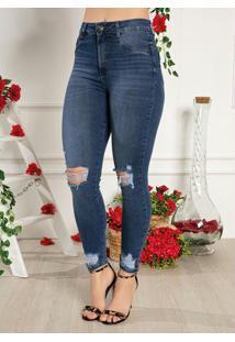 Calça Jeans Skinny Com Bolsos E Destroyed Sawary