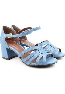 Sandália Griffe Salto Bloco Médio Feminina - Feminino-Azul